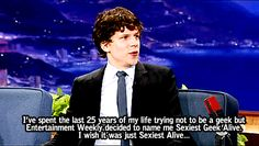 Jesse Eisenberg: IT SHOULD HAVE BEEN JUST SEXIEST ALIVE. ❤❤❤❤
