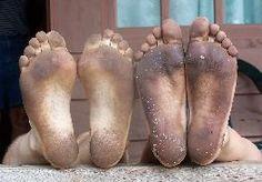Lekker op je blote voeten lopen. Maar pas op voor wondjes.