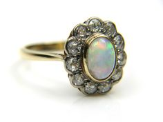 Vintage Victorian 18ct Fire Opal Diamond Oval Cluster ring....x