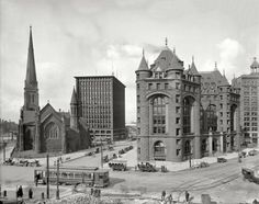 "Buffalo, New York, circa 1908. ""Shelton Square -- St. Paul's Episcopal Cathedral, Prudential Building, Erie County Savings Bank."""