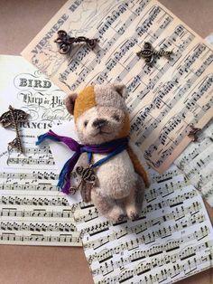 Купить Флип - кремовый, белый цвет, рыжий, авторские мишки Тедди, миниатюра, коллекционные игрушки