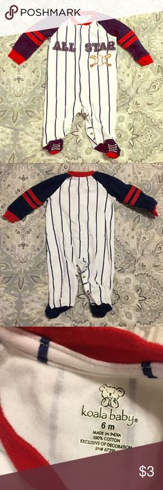 """Boys Pajamas 👶 """"All-Star"""" baseball uniform long sleeve snap-up footie jammies; good condition; bundle with other items and make me an offer 😊👍 Koala Baby Pajamas"""