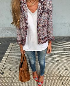 casual fashion looks great Mode Outfits, Chic Outfits, Fashion Outfits, Womens Fashion, Fashion Trends, Look Blazer, Tweed Blazer Outfit, Mode Chanel, Fashion Looks