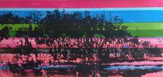 Killarney pink rocks - Acrylics and photocopy transfer - Toronto 2014