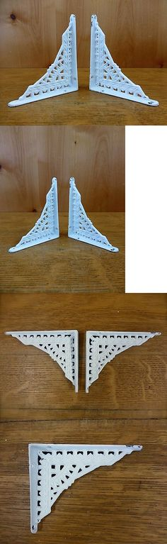 "6 SMALL WHITE ANTIQUE-STYLE 5/"" SHELF BRACKETS CAST IRON garden rustic EASTLAKE"