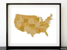 20x16 Printable Usa Map With States And Names Gold Glitter Usa Map Printable