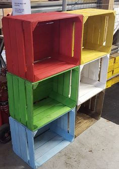 Painted European apple boxes fruit crate shabby chic - Ideal for stacking shelves bookcase diplay unit - by WineBoxesEtc on Etsy https://www.etsy.com/uk/listing/251588994/painted-european-apple-boxes-fruit-crate