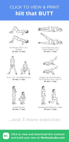 hiit that BUTT –click to view and print this illustrated exercise plan created with #WorkoutLabsFit