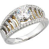 2 Tone Diamond Engagement Ring