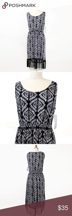 "•SALE• Tribal Fringe Black White Sleeveless Dress Boho tribal print sleeveless dress with fringe. Has elastic waist that stretches. Hi-lo fringe hem.   Measurements: S - 16.5"" armpit to armpit / 35"" front length / 40"" back length + 6"" fringe L - 20"" armpit to armpit / 35"" front length / 40"" back length + 6"" fringe  96% polyester, 4% spandex  👉🏻 PRICE IS FIRM. NO OFFERS. 👈🏻 NY Collection Dresses Mini"