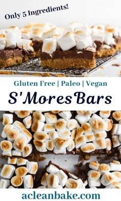 Celebrate summer with these gluten free and paleo smores bars! They're so easy to make with a 3 ingredient crust, 2 ingredient filling and 1 ingredient topping, plus a few minutes in the oven. Mini Desserts, Easy Gluten Free Desserts, Egg Free Recipes, Summer Dessert Recipes, Gluten Free Baking, Healthy Dessert Recipes, Easy Desserts, Non Dairy Desserts, Gluten Free Bars