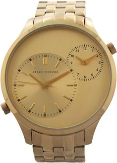 armani exchange - ax2176 gold dual-movement stainless steel watch