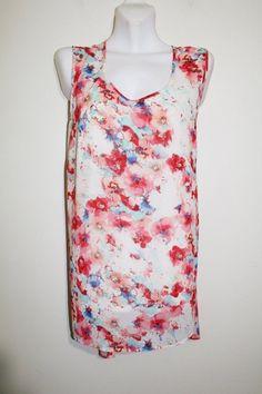$19.95 Women's Rose & Olive Multi Colored Floral 3X Open Back Tank Top Shirt Hi Low #RoseOlive #TankCami #Versatile