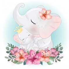 Cute elephant mother and baby Premium Ve. Cute Animal Drawings, Cute Drawings, Watercolor Flower Background, Flower Watercolor, Mothers Day Drawings, Vintage Floral Backgrounds, Illustration, Cute Elephant, Baby Art
