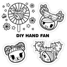 Cute Diys, Craft Kits, Sanrio, Hand Fan, Super Cute, Snoopy, Printables, Diy Crafts, Kawaii