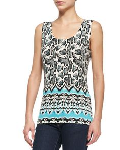Ikat Snake-Print Tank  by Neiman Marcus Cashmere Collection at Neiman Marcus.