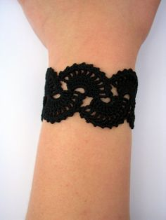 Handmade Crochet Bracelet Queen Anne's Lace  Black by Sunchasing, $20.00