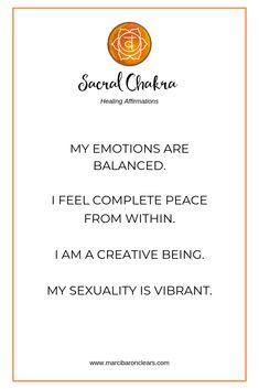 Our Sacral chakra is our creativity and creation center. It is our energetic center of sexuality, pleasure and passion.
