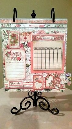 Graphic 45 Time to Flourish Calendar   using the 8 x 8 size papers         January                      February                     ...