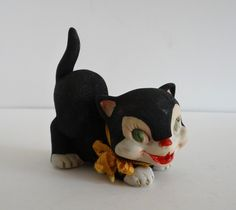 Black Cat Flocked Figurine Vintage Halloween by LilBatsInTheAttic on Etsy