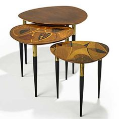 Erno Fabry (Czech-born,1906-1984)   Set of three nesting tables, c. 1955 for Fabry Associates, Italy   Mahogany, with exotic wood marquetry and brass