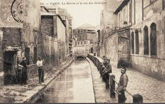 La Bièvre et la rue des Gobelins vers 1900 - Paris 13ème