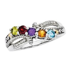 Mother's Simulated Birthstone and Diamond Accent Ring in Sterling Silver and 14K Gold (5 Stones)