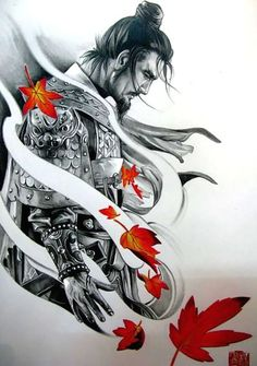 Tattoo Samurai P&B + folhas de outono