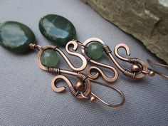 Copper Hammered Earrings with Canadian Jade/ Copper Wire Earrings/Artisan Earrings/
