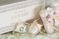 Laduree Macaron giftbox, antique french lace and tiny pointe shoes found at Opera Garnier