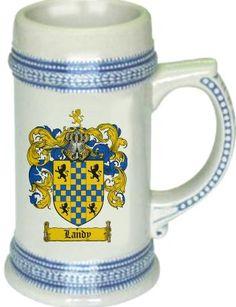 Landy Coat of Arms / Family Crest stein mug | coatofarms - Housewares on ArtFire