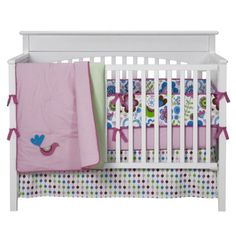 Bacati Botanical Sanctuary Baby Girls' Bright Blue, Pink, and Green Bedding Set 10-pc..Opens in a new window