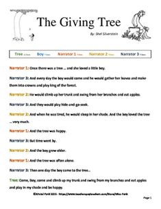 I+have+taken+the+Shel+Silverstein+story+of+The+Giving+Tree+and+separated+it+into+5+reading+parts.+This+is+a+great+activity+for+fluency,+shared+reading,+or+practice+of+site+words.I+wrote+the+cast+as+Tree,+Boy,+and+3+Narrators+that+announce+the+thoughts+and+actions+of+the+Tree+and+Boy!+