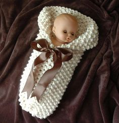 Baby Cocoon Chunky Knit Newborn Photo Prop With Brown Bow