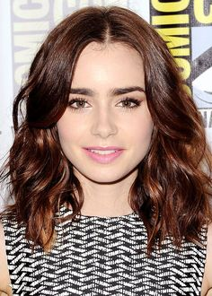 Lily Collins - wavy and short