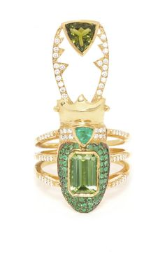 Janus Gold, Emerald, Tourmaline, and Diamond Ring by Daniela Villegas - Moda Operandi Gold Jewelry, Jewelry Box, Jewelry Rings, Vintage Jewelry, Fine Jewelry, Unique Jewelry, Jewellery, Insect Jewelry, Animal Jewelry