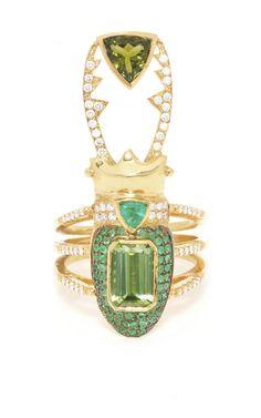 Perseus 18K Gold Diamond, Tourmaline, and Emerald Ring by Daniela Villegas