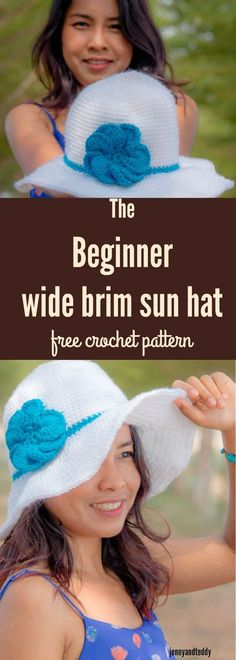 This beginner wide brim sun hat free crochet pattern so quick and easy to whip up mostly use single crochet!