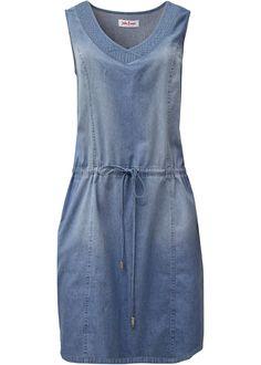 Vestido jeans com cordão de ajuste azul médio alvejado encomendar agora na loja on-line bonprix.de  R$ 149,90 a partir de Este vestido jeans sem mangas tem ...