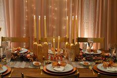 Reveillon Cobre- Copper Decor- Editorial Natal- Home Decor- Decoração Festas- Mesas Decoração- Natal