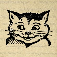 Cheshire Cat Alice in Wonderland Digital Graphic Image Digital Image, Digital Art, Cheshire Cat Alice In Wonderland, Clip Art, Illustration, Vintage Artwork, Vintage Cartoon, Graphic, Printable Art