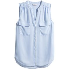 H&M Sleeveless blouse ($14) ❤ liked on Polyvore featuring tops, blouses, shirts, light blue, polyester shirt, sleeveless v neck blouse, light blue blouse, blue v neck shirt and h&m shirts