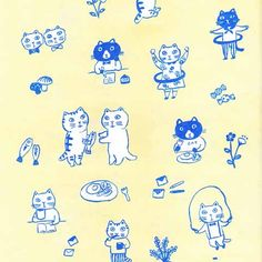 yumi kitagishi ラッピングペーパー6枚セット(ねこ) - galerie doux dimanche
