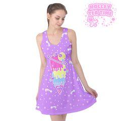 ✨ Cosmic Ice Cream Purple Sleeveless Skater Dress ✨ Everyday Cutie Sale ✨ Made To Order ✧ Fairy kei ✧ Decora kei ✧ Uchuu kei ✧ Harajuku Fashion