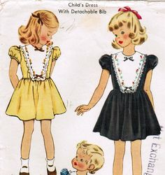 1950s McCall 1559 Vintage Sewing Pattern Child's Dress with Detachable Bib Size 2 di midvalecottage su Etsy https://www.etsy.com/it/listing/42537520/1950s-mccall-1559-vintage-sewing-pattern