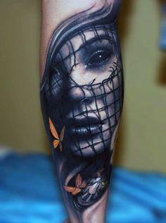 tatuaże na przedramieniu twarz