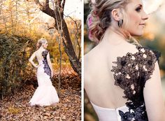 Black lace applique wedding dress