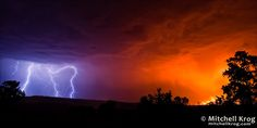 Fire and Ice / Lightning Photo of Lightning Storm over Grassland Fire in Magaliesburg, South Africa | Mitchell Krog Wildlife & Landscape Photography