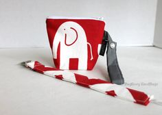 BagEnvy Handbags' Pacifier Pouch and Clip Set - Red Elephants and Chevron - Or Design Your Own - Baby Shower Gift Set