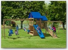 The Backyard Attraction Wooden Swing Set. Here is a wholesome outlet for the boundless energy of your children. Try a wooden play set from Play Mor Swing Sets. You'll be glad you did. Visit www. to find a dealer near you today. Wood Swing Sets, Wooden Playset, Lawn Furniture, Popular Watches, Amish Country, The Great Outdoors, Attraction, Tower, Backyard